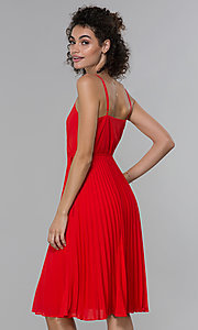 Image of knee-length faux-wrap pleated wedding-guest dress. Style: PLA-AJ-705-0479 Back Image