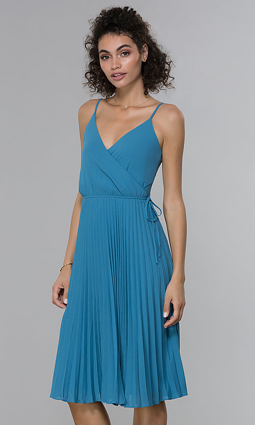 Image of knee-length faux-wrap pleated wedding-guest dress. Style: PLA-AJ-705-0479 Detail Image 3