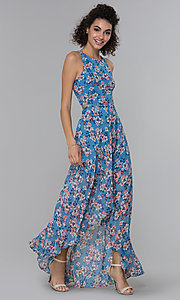 Image of floral-print wedding guest high-low dress. Style: PLA-AJ-705-0128-F Front Image