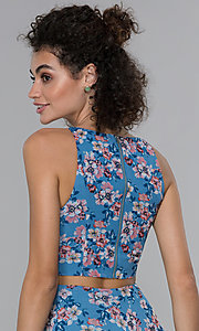 Image of floral-print wedding guest high-low dress. Style: PLA-AJ-705-0128-F Detail Image 2