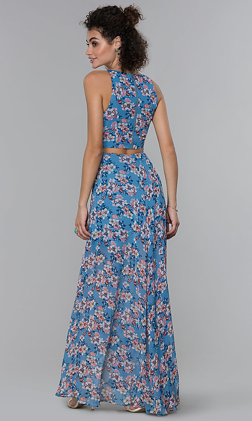 Image of floral-print wedding guest high-low dress. Style: PLA-AJ-705-0128-F Back Image