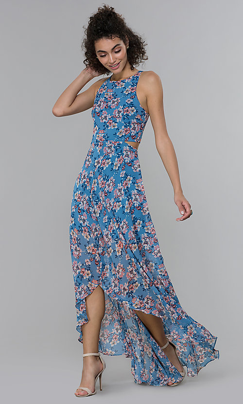 Image of floral-print wedding guest high-low dress. Style: PLA-AJ-705-0128-F Detail Image 3