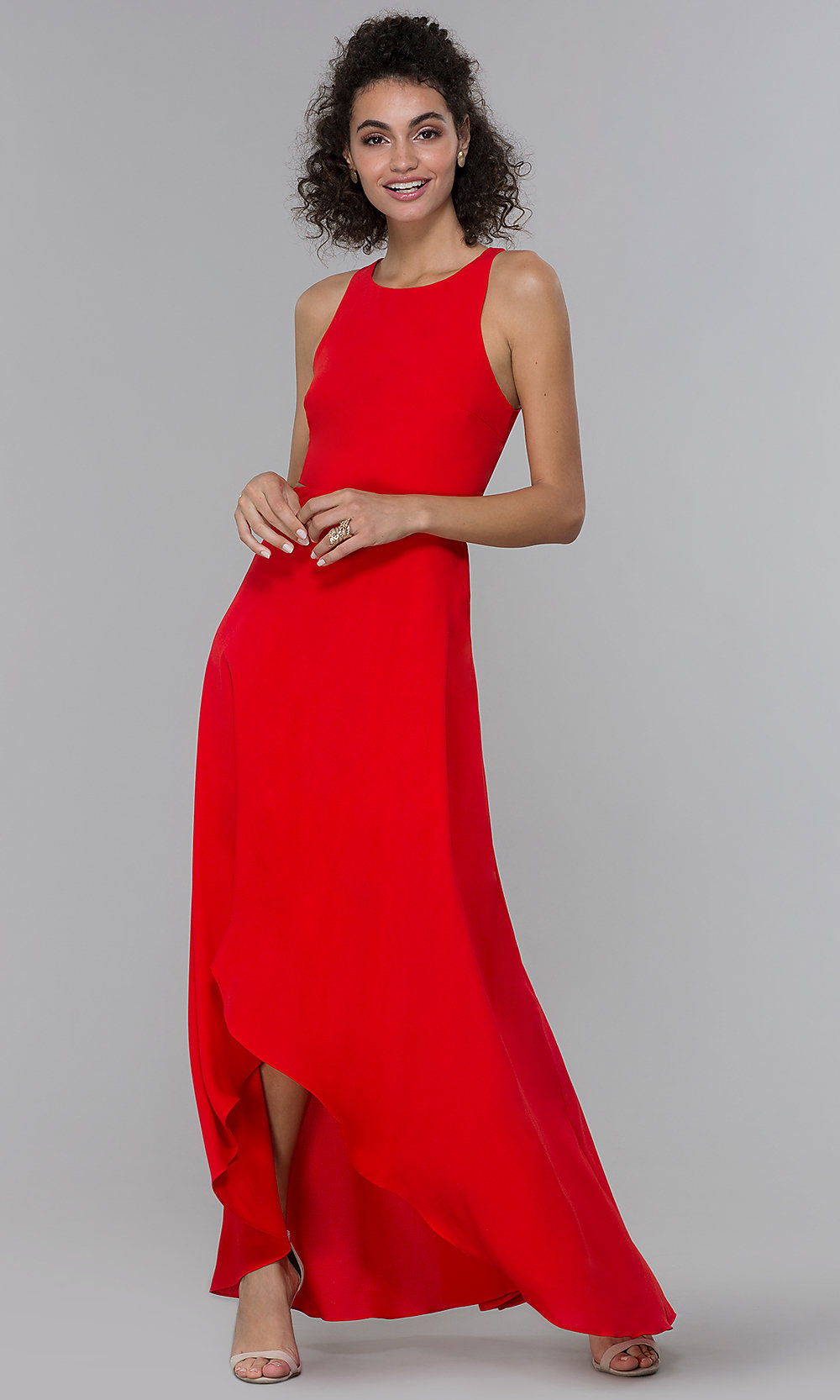 Formal High-Low Chiffon Wedding-Guest DressRed Dresses