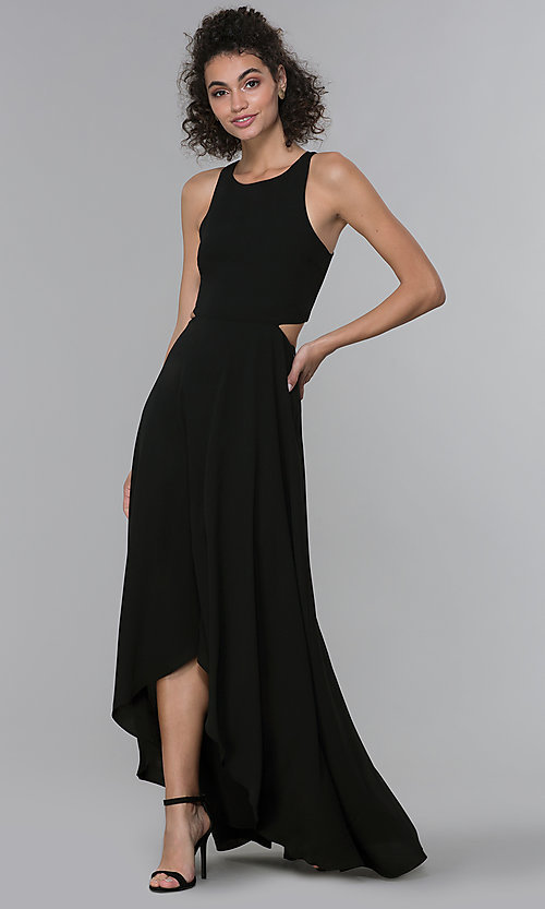 Image of chiffon high-low formal wedding-guest dress. Style: PLA-AJ-705-0128 Detail Image 3