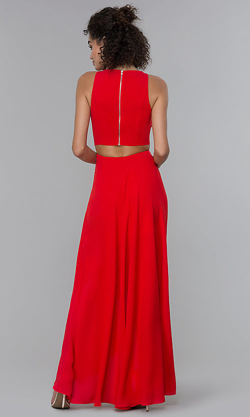 Image of chiffon high-low formal wedding-guest dress. Style: PLA-AJ-705-0128 Back Image