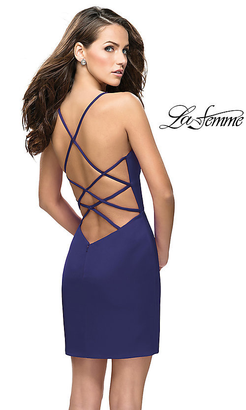 b90aecb8a0c Image of La Femme short satin sweetheart party dress. Style  LF-26638 Front