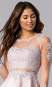 Image of short homecoming dress in dusty pink with sleeves. Style: DQ-PL-3094 Detail Image 1