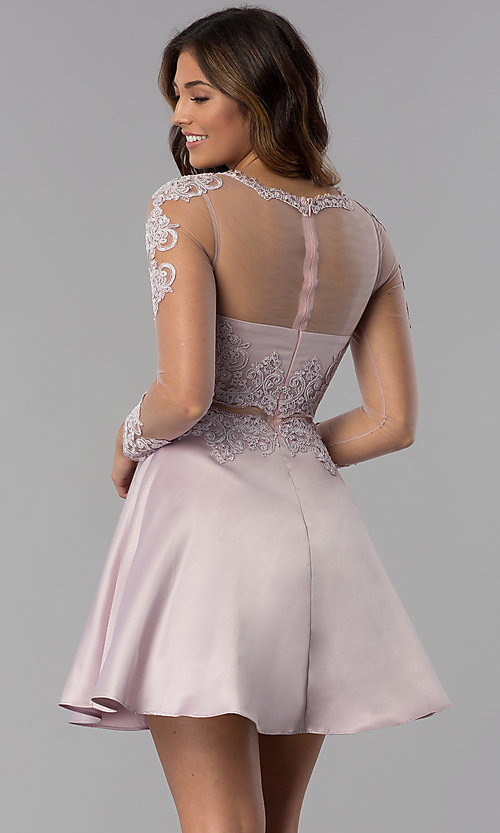 Image of short homecoming dress in dusty pink with sleeves. Style: DQ-PL-3094 Back Image