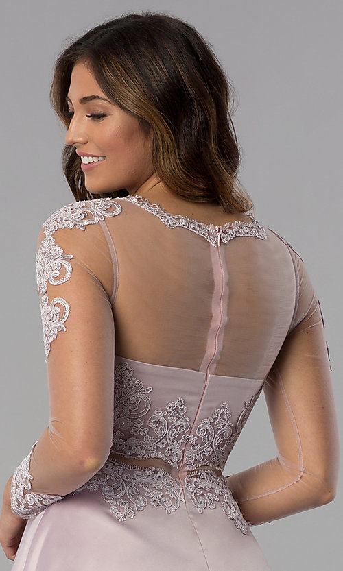 Image of short homecoming dress in dusty pink with sleeves. Style: DQ-PL-3094 Detail Image 2