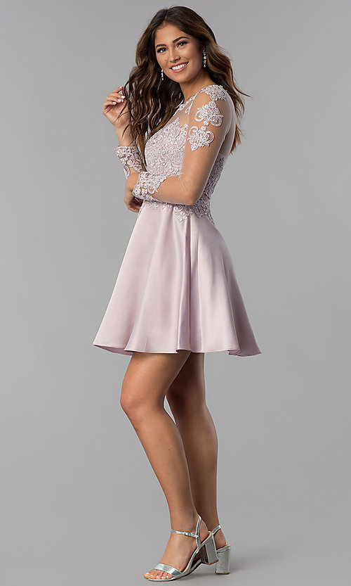 Image of short homecoming dress in dusty pink with sleeves. Style: DQ-PL-3094 Detail Image 3