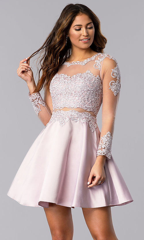 Image of short homecoming dress in dusty pink with sleeves. Style: DQ-PL-3094 Front Image