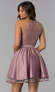 Image of lace-back short satin homecoming dress in dusty rose. Style: DQ-PL-3093 Back Image