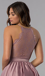 Image of lace-back short satin homecoming dress in dusty rose. Style: DQ-PL-3093 Detail Image 2