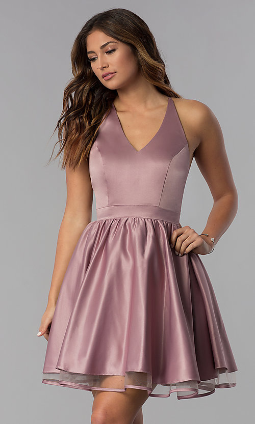 Image of lace-back short satin homecoming dress in dusty rose. Style: DQ-PL-3093 Front Image