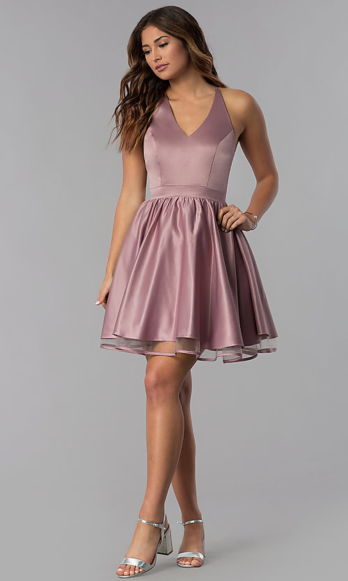 Image of lace-back short satin homecoming dress in dusty rose. Style: DQ-PL-3093 Detail Image 3