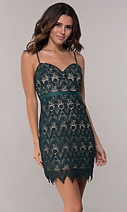 Image of hunter green short lace sheath party dress. Style: JTM-JMD8552 Front Image