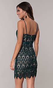Image of hunter green short lace sheath party dress. Style: JTM-JMD8552 Back Image
