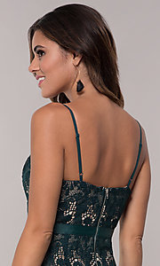 Image of hunter green short lace sheath party dress. Style: JTM-JMD8552 Detail Image 2