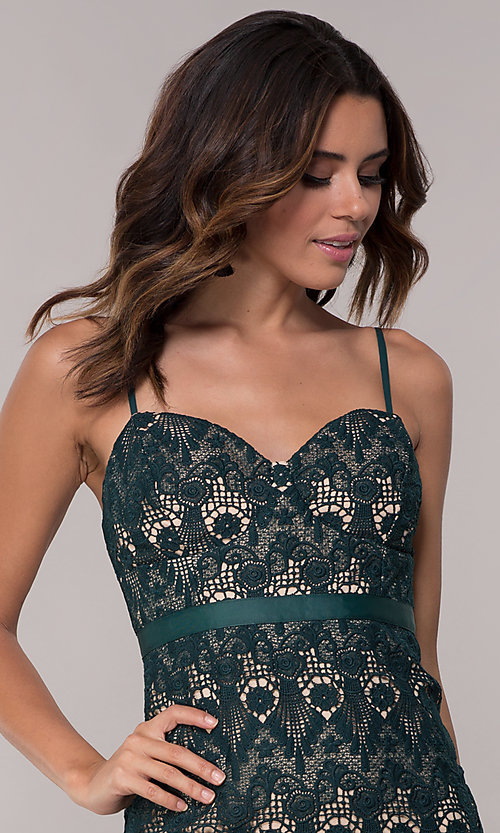 Image of hunter green short lace sheath party dress. Style: JTM-JMD8552 Detail Image 1