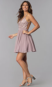 Image of short mocha homecoming dress with beaded bodice. Style: DQ-PL-3089 Detail Image 3