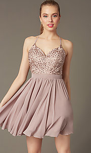 Image of short mocha homecoming dress with beaded bodice. Style: DQ-PL-3089 Front Image