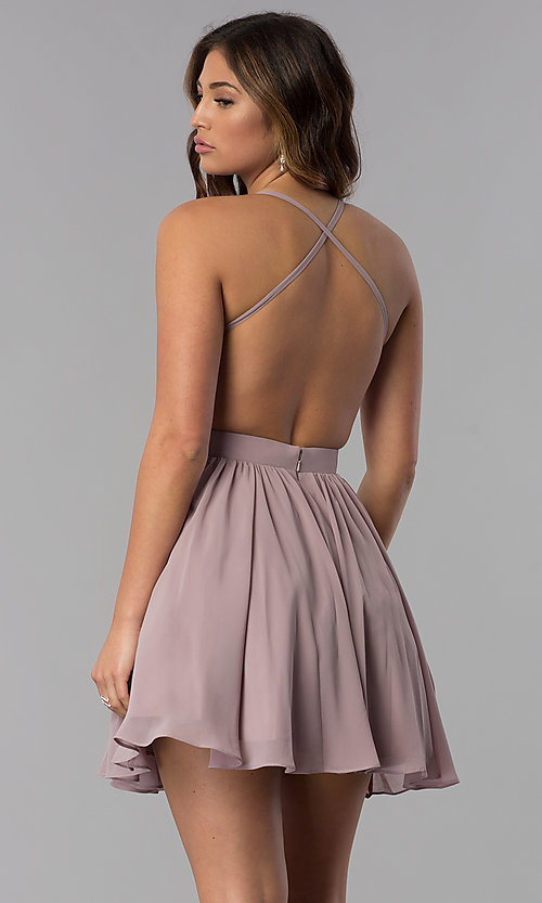 Image of short mocha homecoming dress with beaded bodice. Style: DQ-PL-3089 Back Image