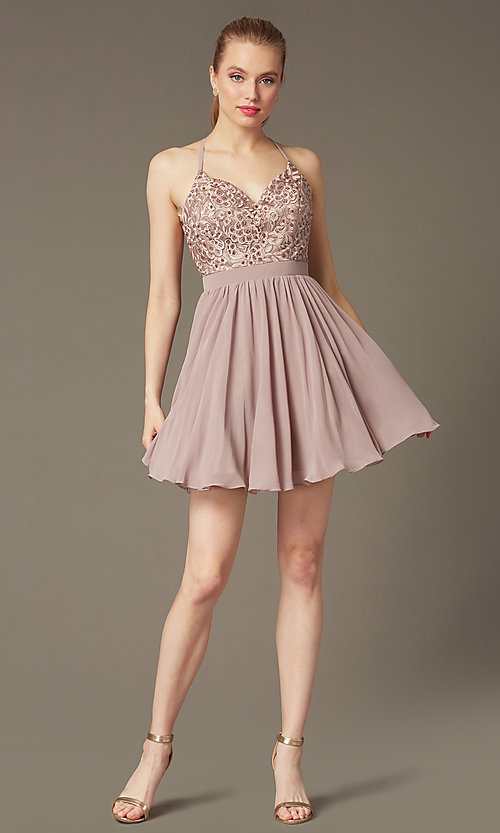 Image of short mocha homecoming dress with beaded bodice. Style: DQ-PL-3089 Detail Image 1
