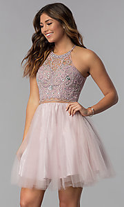 Image of beaded-bodice mock-two-piece short homecoming dress. Style: DQ-PL-3087 Front Image