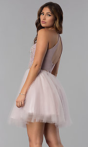Image of beaded-bodice mock-two-piece short homecoming dress. Style: DQ-PL-3087 Back Image