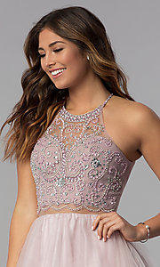Image of beaded-bodice mock-two-piece short homecoming dress. Style: DQ-PL-3087 Detail Image 1