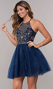 Image of beaded-bodice mock-two-piece short homecoming dress. Style: DQ-PL-3087 Detail Image 2