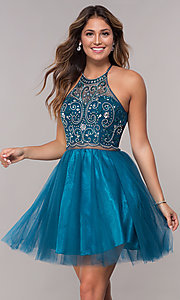 Image of beaded-bodice mock-two-piece short homecoming dress. Style: DQ-PL-3087 Detail Image 3
