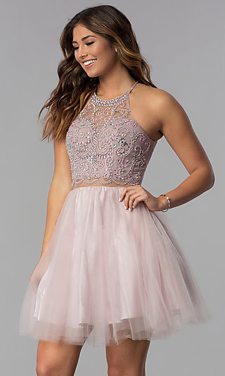 Beaded-Bodice Mock-Two-Piece Short Homecoming Dress
