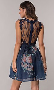 Image of lace-bodice short floral-print navy homecoming dress. Style: SOI-PL-s18266 Back Image