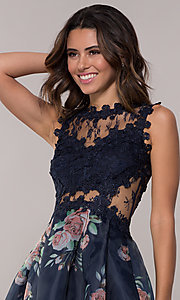 Image of lace-bodice short floral-print navy homecoming dress. Style: SOI-PL-s18266 Detail Image 1