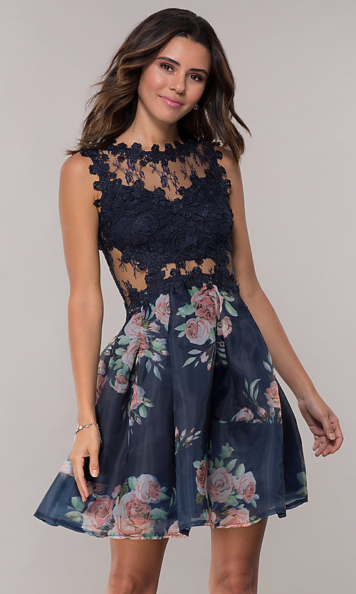 Image of lace-bodice short floral-print navy homecoming dress. Style: SOI-PL-s18266 Front Image