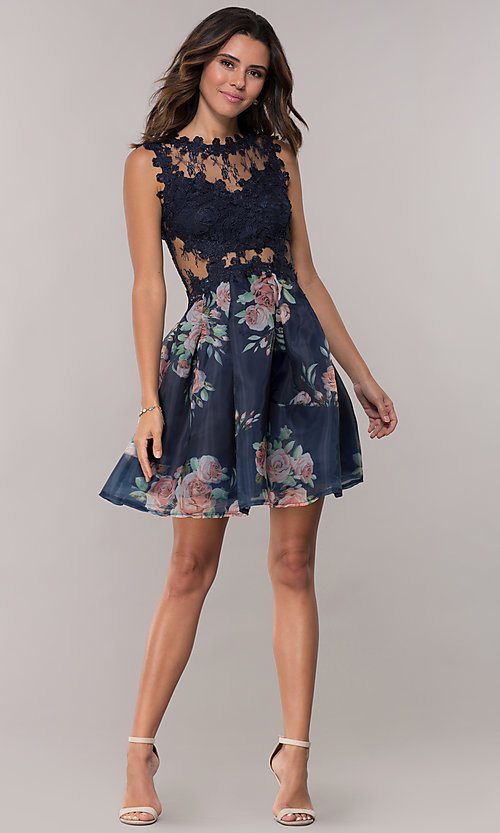 Image of lace-bodice short floral-print navy homecoming dress. Style: SOI-PL-s18266 Detail Image 3