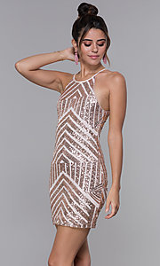 Image of short homecoming dress with rose gold sequin print. Style: MCR-PL-1956 Front Image