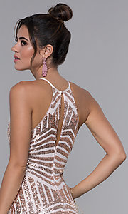 Image of short homecoming dress with rose gold sequin print. Style: MCR-PL-1956 Detail Image 2