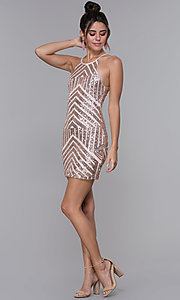 Image of short homecoming dress with rose gold sequin print. Style: MCR-PL-1956 Detail Image 3