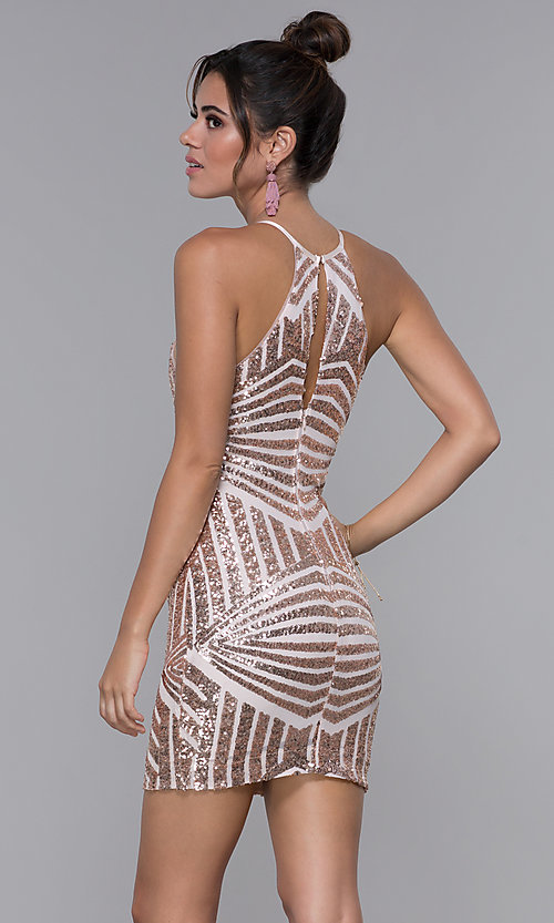 Image of short homecoming dress with rose gold sequin print. Style: MCR-PL-1956 Back Image
