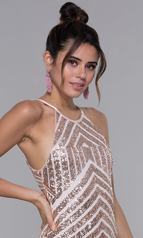 Image of short homecoming dress with rose gold sequin print. Style: MCR-PL-1956 Detail Image 1