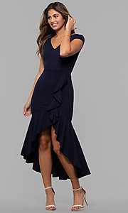 Image of short-sleeve high-low wedding-guest party dress. Style: MCR-3021 Detail Image 4