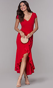 Image of short-sleeve high-low wedding-guest party dress. Style: MCR-3021 Front Image