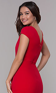 Image of short-sleeve high-low wedding-guest party dress. Style: MCR-3021 Detail Image 2