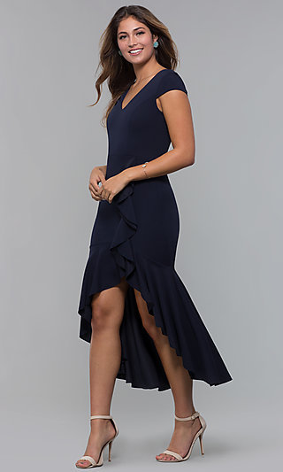 Short-Sleeve High-Low Wedding-Guest Party Dress