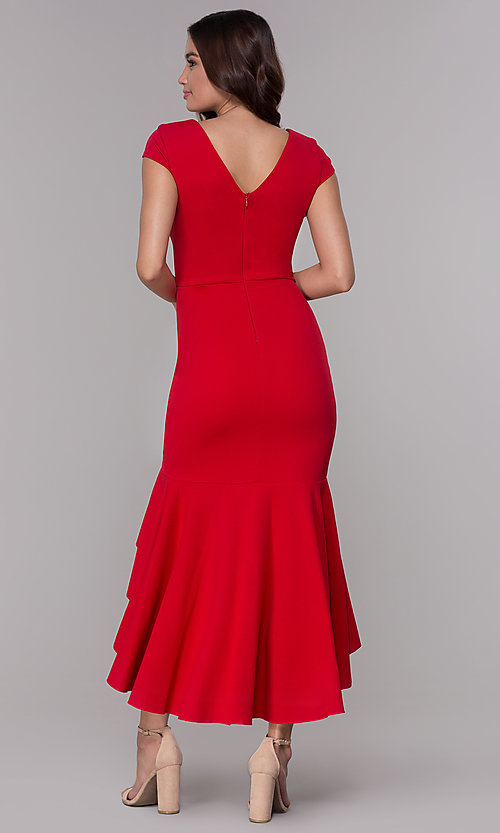 Image of short-sleeve high-low wedding-guest party dress. Style: MCR-3021 Back Image