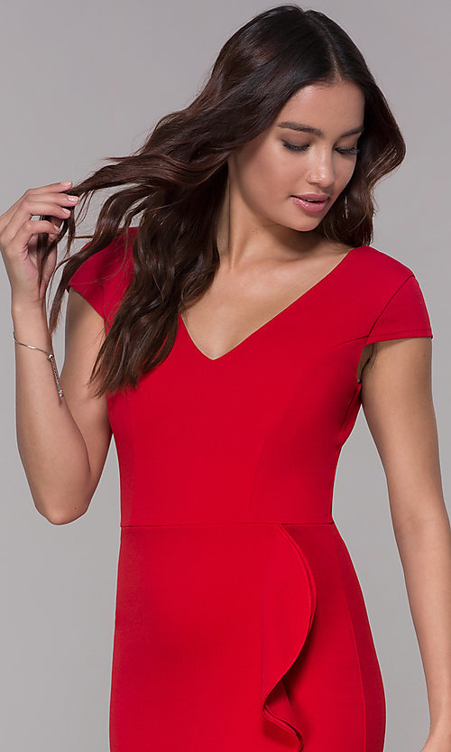 Image of short-sleeve high-low wedding-guest party dress. Style: MCR-3021 Detail Image 1