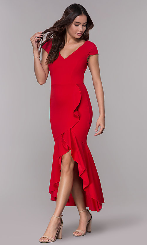 Image of short-sleeve high-low wedding-guest party dress. Style: MCR-3021 Detail Image 3