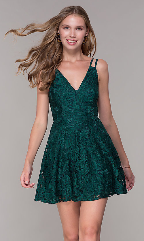 91686e8f407 Image of short lace emerald green wedding-guest party dress. Style  SS-